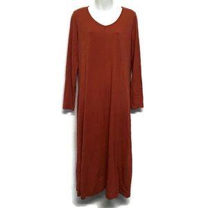 J Jill  Maxi Dress Long Sleeve Modest Fall Burnt